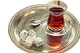 Topkapi - Juego de té turco de 18 piezas Ajda-Sultan, 6 vasos de té, 6 posavasos, 6 cucharillas de té, juego completo, transparente.