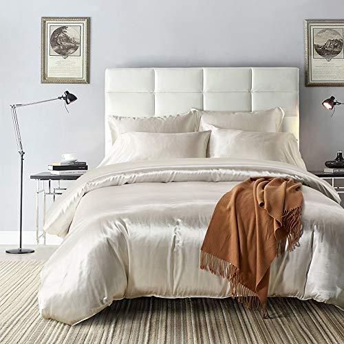 Hysenm Parure de lit 2 taies d'oreiller en satin - Uni lisse - Plusieurs tailles, Satin, Blanc., Bettwäsche(220 x 230cm)+2 x Kissenhülle(50 x 75cm)