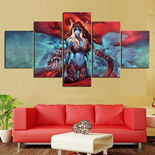 HIMFL 5 Panel HD Print Sylvanas Windrunner World of Warcraft Game Poster Paintings for Bedroom Wall Decor,A,30×40×2+30×60×2+30×80×1