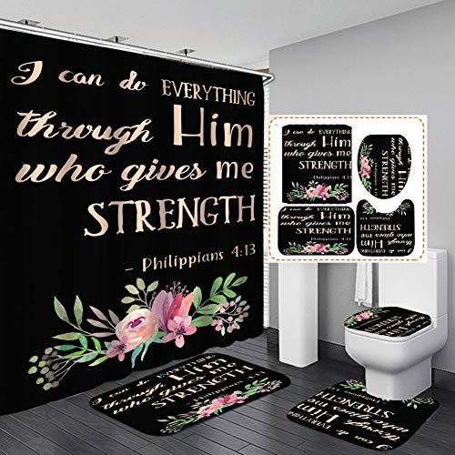 Hankyky Bathroom Mat Sets 4 Piece with 12 Hook, Colorful Word Letters Print Carpet Doormats Decor Shower Curtain and Rugs Bath Mat for tub Kids Floor, Non-Slip Floral Shower Curtain Bathroom Mat