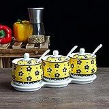 Juego de 3 cuencos de cerámica para condimentos con tapa, cuchara y bandeja utilizada en cocina, restaurante, sal, azúcar y especias condimentos