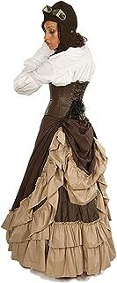 Dress Like A Pirate Steampunk Victorian Full Length Persephone Bustle Skirt Khaki/Brown