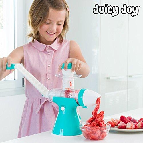 100% natuurlijk ijs, zonder melk. IJsmachine met zwengel, ideaal voor lactose-intoleranten en voor degenen die een vers fruitijs willen. Inclusief accessoires voor vruchtensappen