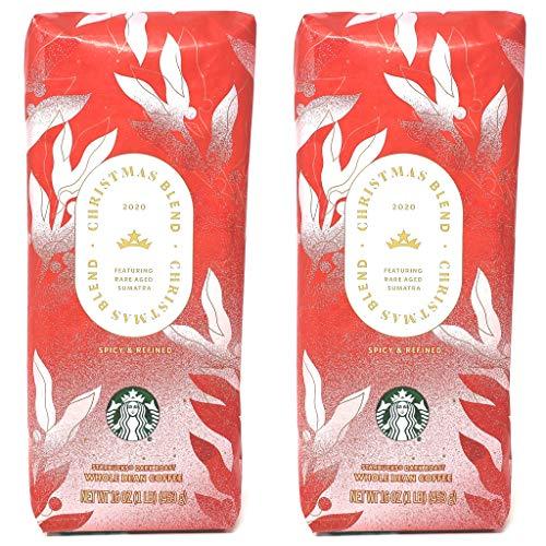 Starbucks Coffee Seasonal 2020 Christmas Blend Coffee - Pack of 2 Bags - 16 oz Per Bag - 32 oz Total - Bulk Limited Edition Starbucks Coffee - Choose Whole Bean or Ground (Whole Bean)
