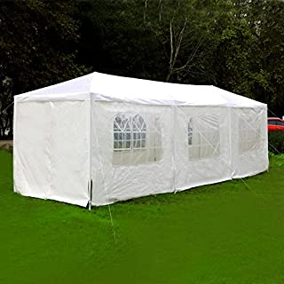 Exacme 6053-1030W Canopy Party Outdoor Gazebo Wedding Tent 8 Removable Walls, 10' x 30', White