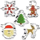 Olywee 5 Pezzi Formine per biscotti di Natale Forme Fiocco di neve, Albero di Natale, Omino di marzapane, Fiocco di Babbo Natale e Pupazzo di neve