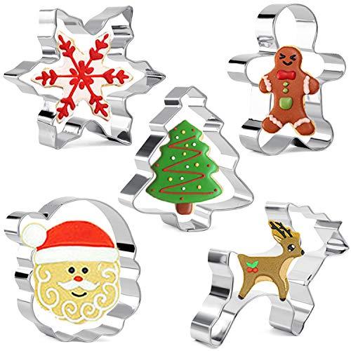 Olywee - Juego de 5 cortadores de galletas de Navidad con forma de copo de nieve, árbol de Navidad, hombre de jengibre, cara de Papá Noel y reno de acero inoxidable