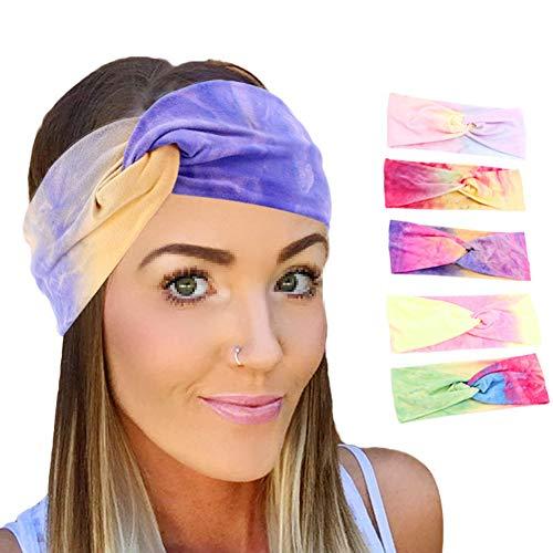 Asudaro 6er Damen Stirnbänder Vintage Criss Cross Boho Elastische Kopfband Turban Frauen Headwrap Haarschmuck Sport Yoga Haarband Haar Zubehör Kopf Warp