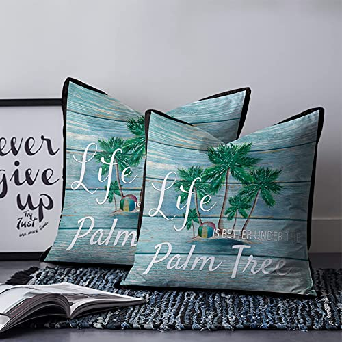 Almohada decorativa de verano para playa, súper suave y cómoda, funda de almohada de lona para sofá, cama, coche, patio, silla de 45,7 x 45,7 cm, palmeras tropicales con grano de madera