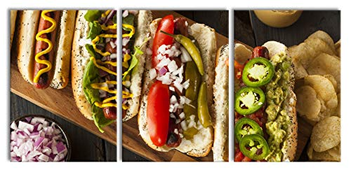 American hot dogsXXL canvasbeeld 3 deel | 210x100cm volledige maatregel | Wanddecoraties | Kunstdruk