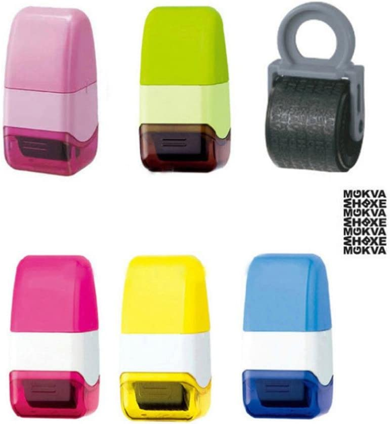 Waymeduo 1Pcs Guard Your ID Roller Stamp SelfInking Stamp Messy Code Security Office(Pink)
