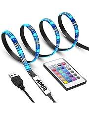 升级版 AMIR LED テープライト TVバックライト テレビ PC照明 目の疲れを取る USB接続 リモコン操作 強粘着両面テープ仕様 カラー選択 切断可能 防水防塵 (スタイルB) … (ブルー)