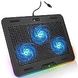 KLIM Aurora - Base de refrigeración para portátiles RGB - 11' a 17' + Refrigeración para portátil Gaming + Ventilador USB + Estable y Resistente Base de Aluminio + Gran compatibilidad + Nueva 2021