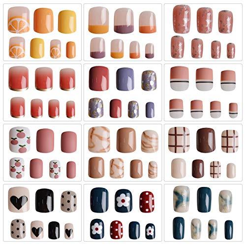 EBANKU Künstliche Nägel Perle Nägel Zum Aufkleben 288 Stück Acryl Nagelset Vollständiges Kunstnägel Farben Kurz Nageltips Nail Art für Mädchen und Frauen mit selbstklebenden Nagellaschen