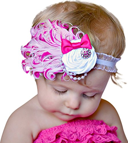 Baby Girl's Headbands Lace Feather Butterfly Hairpiece White/Rose Plumes