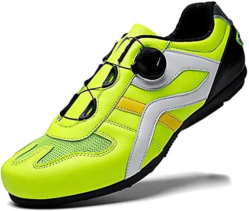 CHUIKUAJ Zapatillas de Ciclismo Hombre Mujer Carretera Bicicleta de Montaña Asistencia Sin Bloqueo Bicicleta de Fondo Duro,Green-44EU