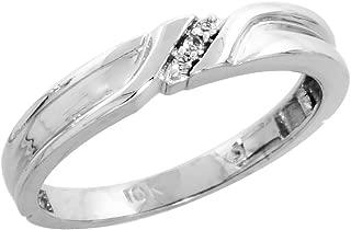 10k White Gold Diamond Engagement Ring Women 0.05 cttw Brilliant Cut 1/8 inch 3.5mm wide