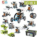ToyVelt 15 in 1 Solar Robot Kit - Incl 2 Solar Building Toy Sets and A Beautiful Storage Container - Solar Powered by The Sun STEM Science Toys for Boys and Girls Ages 8,9,10,11,12 Years Old