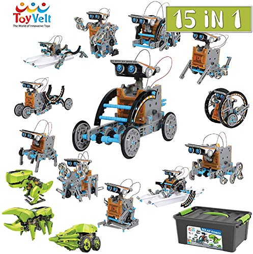 ToyVelt 15 in 1 Solar Robot Kit - Incl 2 Solar Building Toy Sets and A Beautiful Storage Container - Solar Powered by The Sun Stem Science Building Toys for Boys and Girls Ages 8,9,10,11,12 Years Old
