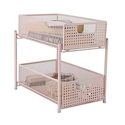 Mind Reader HCABASK2T-PNK Cabinet, Mesh Storage Baskets Organizer, Home, Office, Kitchen, Bathroom, One Size, Pink 2 Tier Heavy Duty