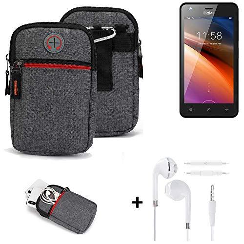 K-S-Trade® Gürtel-Tasche + Kopfhörer Für -Haier G21- Handy-Tasche Schutz-hülle Grau Zusatzfächer 1x