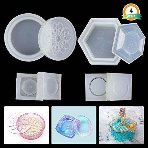 LET'S RESIN Resin Box Molds Silicone Jewelry Box Molds Including Sakura Hexagon Epoxy Resin Molds with Lid and 2Pcs Cute Mini Trinkets Box Molds