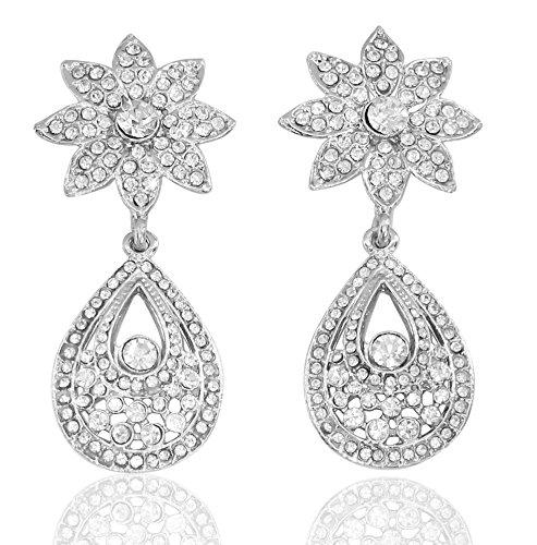 Touchstone diamante austriaco pendientes para las mujeres