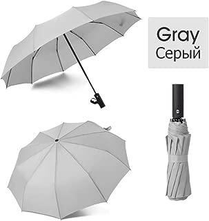 YWSCXMY-AU Strong Windproof Folding Automatic Umbrella Male and Female Rain Umbrella Business Portable Long Handle Umbrella (Color : Gray)