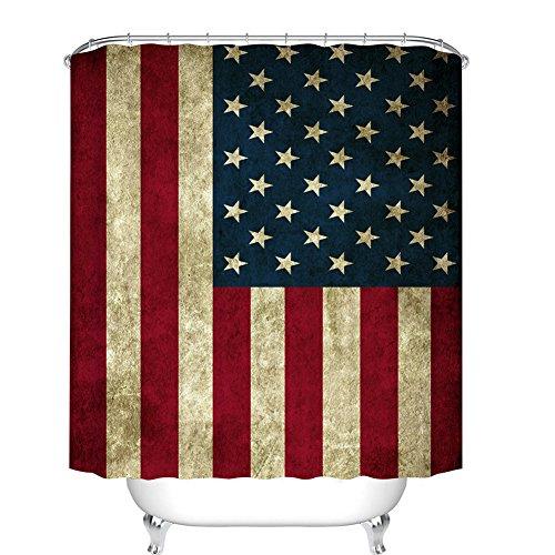 Fangkun Duschvorhang, amerikanische Flagge, USA-Dekor, Duschvorhänge – wasserdichtes Polyestergewebe, Badvorhänge Set – 12 Duschvorhänge sind im Lieferumfang enthalten – 182,9 x 182,9 cm
