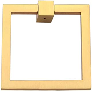 """Prima Square Modern Ring Pulls 3""""- Solid Brass Home Décor Square Ring Pull, Home Renovation Sand Casted & Hand Finished Cabinet Ring Pulls for Kitchen Drawers, Sturdy Ring Pull Square – Brushed Brass"""