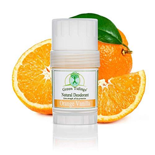 Green Tidings Natural Deodorant Orange Vanilla - Vegan, Organic Deodorant for Men and Women, Fragrance Free & Aluminum Free Deodorant, Underarm Antiperspirant 1 Oz 1 Pack