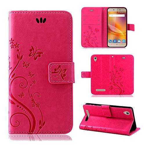betterfon | Flower Case Handytasche Schutzhülle Blumen Klapptasche Handyhülle Handy Schale für ZTE Blade A452 Pink