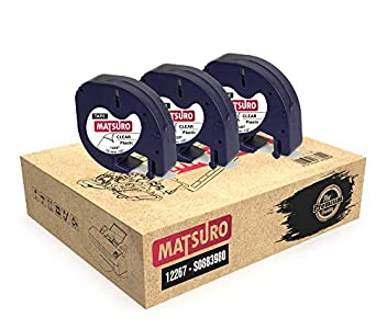 Matsuro Original   Compatibles Cintas de Etiquetas Reemplazo para DYMO LetraTag 12267 S0721530 S0721550 negro sobre transparente (12 mm x 4 m   plástico   Paquete de 3)