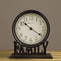 CWLLWC Clock, Retro Desktop Clock, Living Room, Bedroom, Clock, Table Decoration, Wrought Iron Table Clock, Creative Home