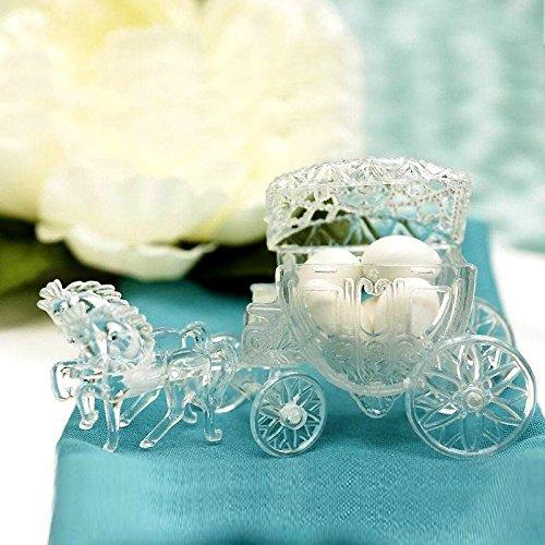 BalsaCircle 12 pcs Clear Cinderella Coach Wedding Favor Holders - Wedding Accessories Decorations Candy Supplies Gift