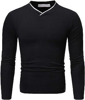 T-Shirt Men Tops Men Soft Comfortable Casual Wear V-Neck Slim Fit Long Sleeve Men Muscle Shirt Autumn New Simple Classic C...