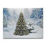 jiliguala LED de Navidad envuelto lienzo pintura para pared Decoration- iluminado invierno Nieve árboles de hoja perenne escena luz Up imagen, tamaño 15,7(L) x11.8(W) Inch- funciona con 2AA pilas (no incluidas)