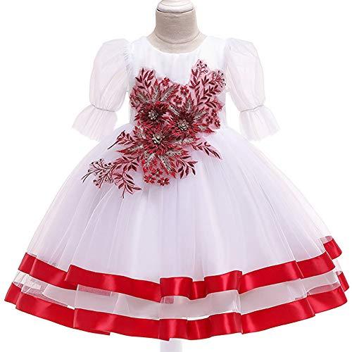 YGCLOTHES meisjesjurk, mouwloze jurk, voor feestjes, zomer, tule met geborduurde prinsessenjurk, Puff Sleeve bloem avondjurk, voor meisjes, bruiloftsjurk, piano stage, performance jurk, 3-10 jaar