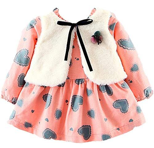 Bowanadacles Vestito Bambina Autunnale Invernale 2 Pezzi Vestito a Maniche Lunghe con Stampa Floreale + Cappotto Gilet in Pelliccia Vestito da Principessa 0-4 Anni(Rosa, 0-12 Mesi)