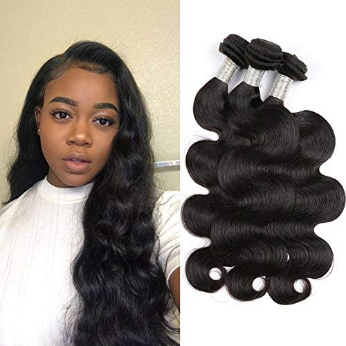 MDL Hair 12 14 16 8A Peruvian Body Wave Hair 3 Bundles Unprocessed Virgin Brazilian Wet And Wavy Remy Human Hair Weave Natural Black Color Total 300G For Women