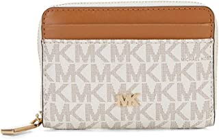 Michael Kors Signature Logo Zip Around Coin Card Case Wallet - Vanilla/Acorn