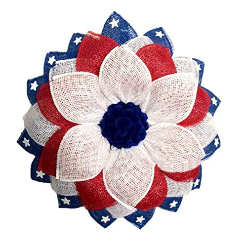 ZLYP Patriotic Floral Wreath For Front Door Outside, Decor 4th Of July Decorations Festival Garland Porch Sign For Memorial Day, Veterans Day Ornaments Gifts 4