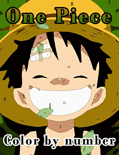 One Piece Color by Number: Japanese Manga Series Written and Illustrated by Eiichiro Oda Illustration Color Number Book for Fans Adults Stress Relief Gift