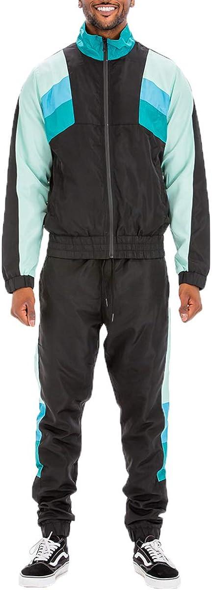 Weiv Men's Activewear Full Zip Windbreaker Tracksuit Sports Set Casual Sweat Suit