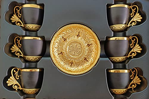 BAYKUL Turkish Coffee Cups Set of 6 and Saucers, 3-Ounce Luxury Porcelain Greek Arabic Espresso Demitasse Porcelain Cup Sets for Serving Tea, Coffee, Cappuccino, Gold and Silver Ottoman Trim (Black)