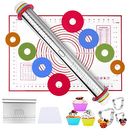 HOMENOTE 10 Pcs Baking tool, Adjustable Thickness Rolling Pin and Silicone Baking Pastry Mat Set, Stainless Steel Dough Roller& Steel cutter& 3 cookie molds & 3 cake molds for Baking