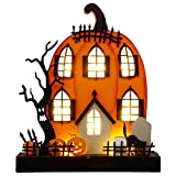 DR.DUDU Halloween Tabletop Decoration, 9 x 8 Inches Lighted Pumpkin House Ornament, Ghost Tree Wooden Sign for Indoor Home Party Décor