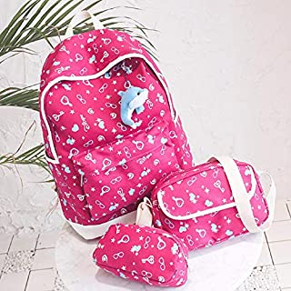 Y&D 3pcs backpack for girls and kids red color