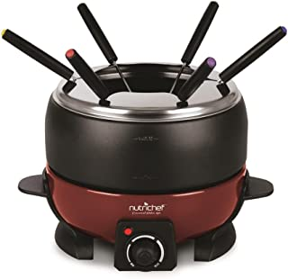 NutriChef PKFNMK23 Small Appliance Countertop Set Cooker Chocolate Maker Cheese Electric 64oz Fondue Melting Pot, Warmer - Includes 6 Forks, Black