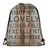 Yuanmeiju Whatever Is True Noble Pure Lovely 3D Print Drawstring Backpack Rucksack Shoulder Bags Bolsa de Gimnasio For Adult 17'X14'